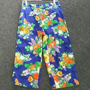 Talbots floral cropped pants sz 8 cotton